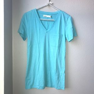 Madewell Hi-Line Teal V-Neck Pocket Tee